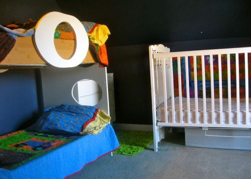 toddler bunk bed, navy kids room, white crib
