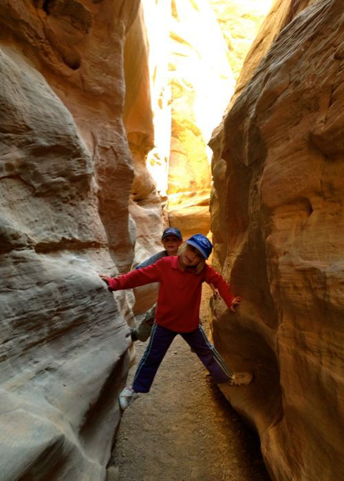 kids in a slot canyon, little wild horse canyon