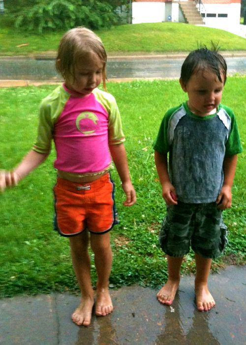 kids playing in rain
