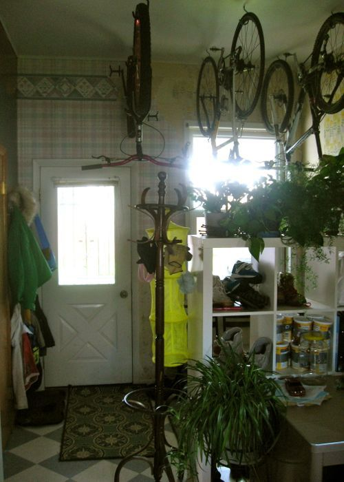 mudroom ikea expedite bikes hanging from ceiling
