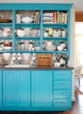 turquoise kitchen cabinets wallpaper