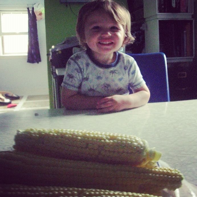 little boy homegrown corn instagram