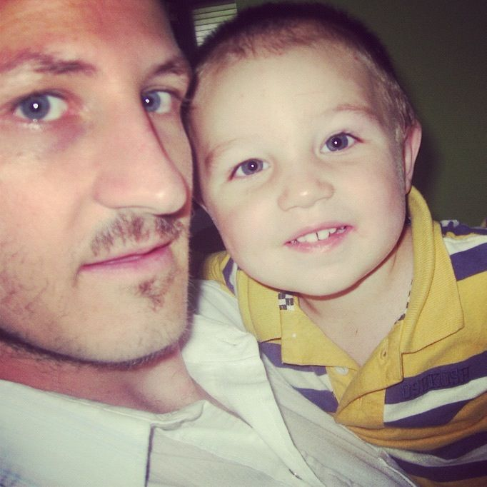 little toddler boy and dad hugging instagram