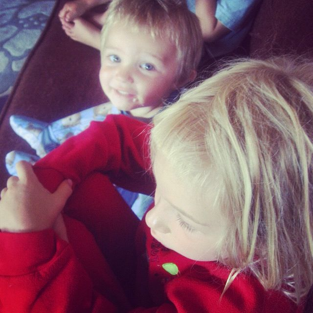 little boy and girl in footy pajamas instagram