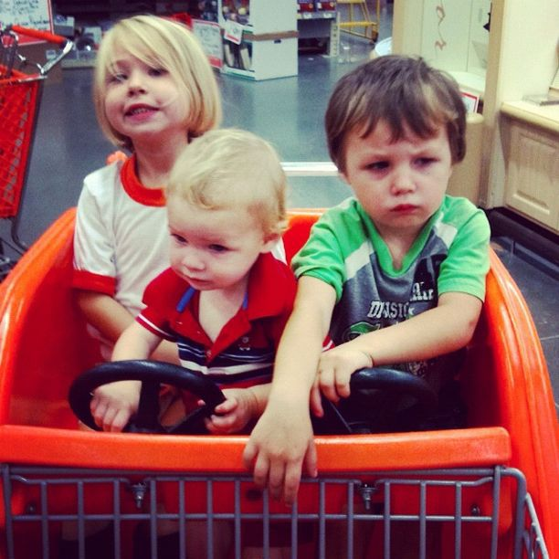 three kids in car grocery cart home depot instagram