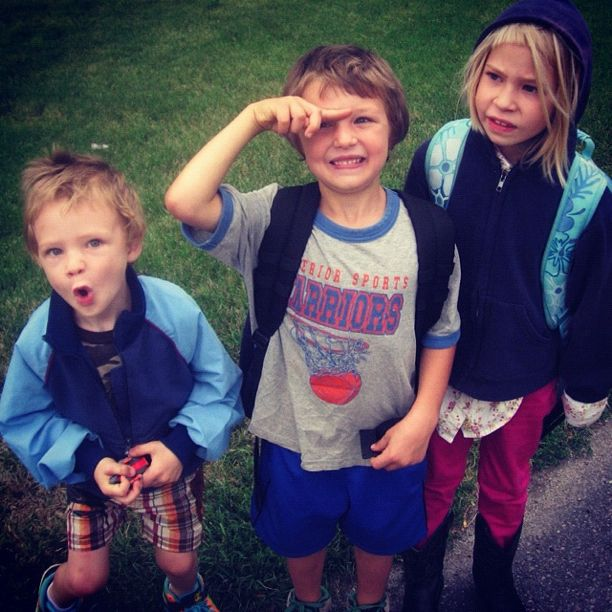 kids at bus stop first day of school instagram