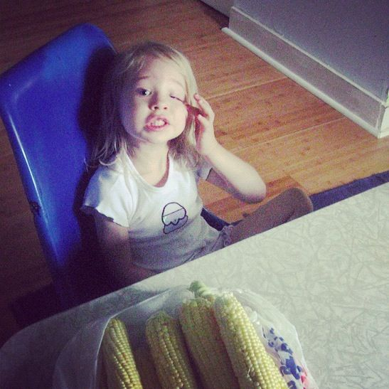 little girl homegrown corn instagram