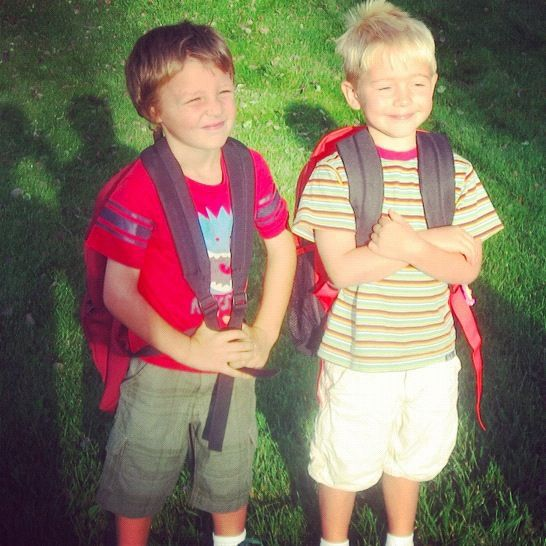 two little boys first day of kindergarten instagram