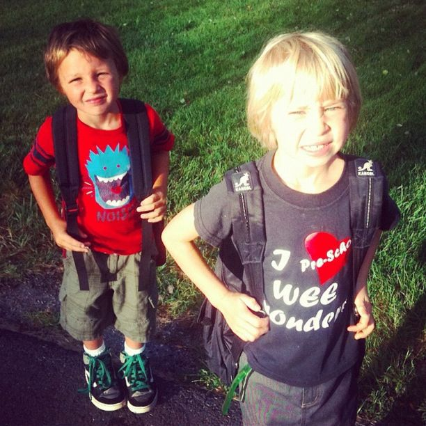 boy and girl first day of school instagram