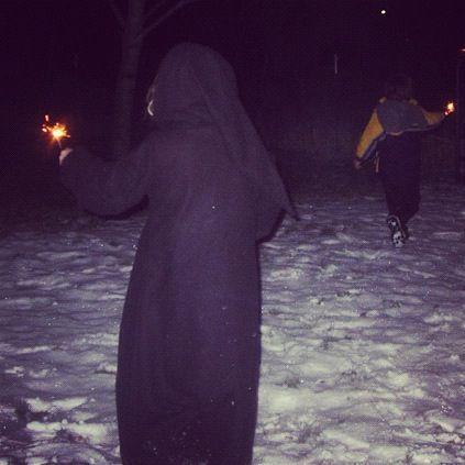 kids sparklers in snow instagram