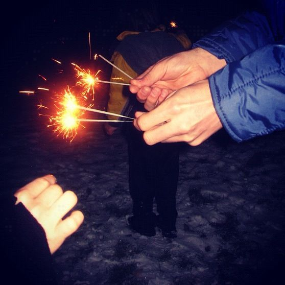 sparklers in snow instagram