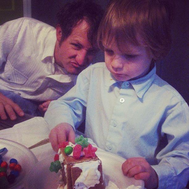 little boy graham cracker gingerbread house grinchy dad instagram
