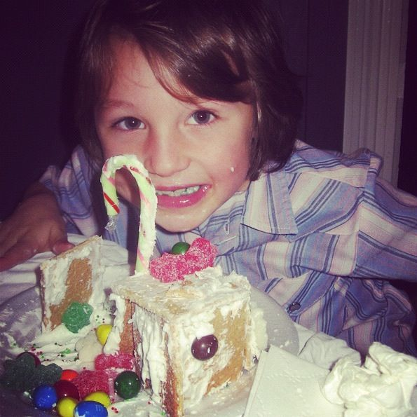 little boy graham cracker gingerbread house instagram