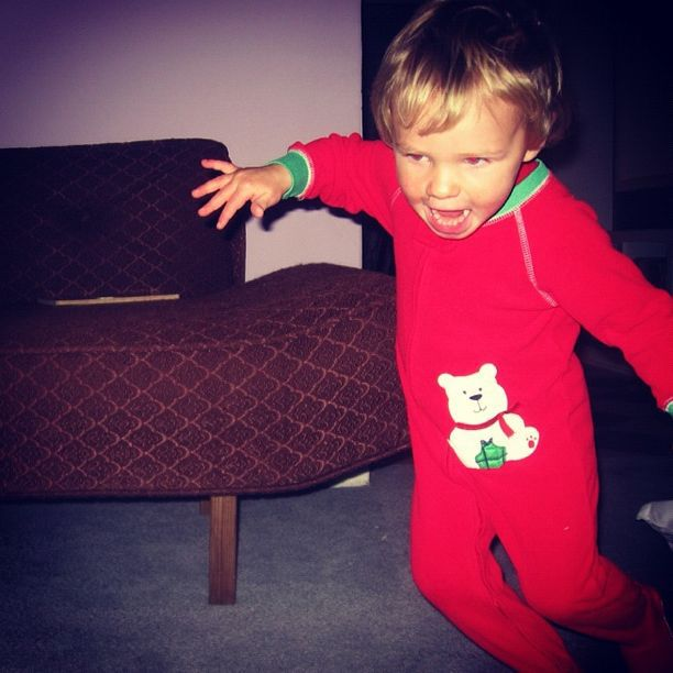 little boy christmas pajamas excited running instagram