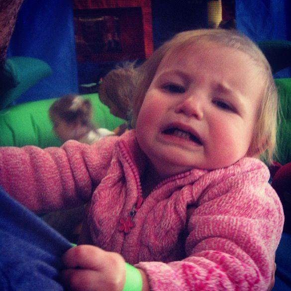 sad baby girl bounce house kangaroo zoo instagram
