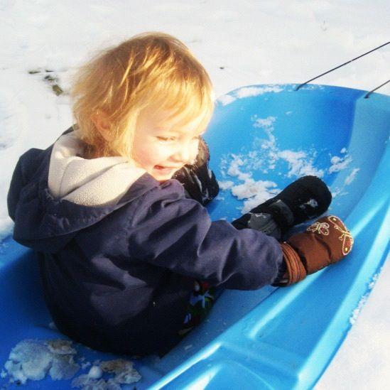 little boy in blue sled instagram