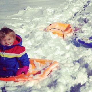 kids sledding instagram