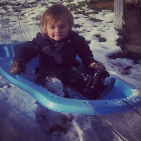 little boy in sled instagram