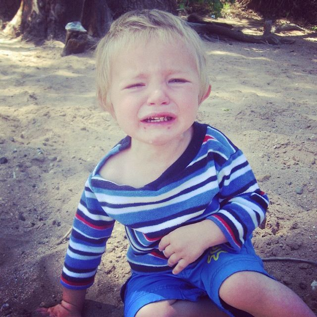 little boy crying on beach instagram