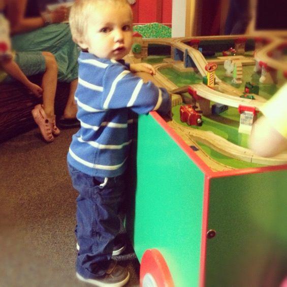 little boy at train table instagram