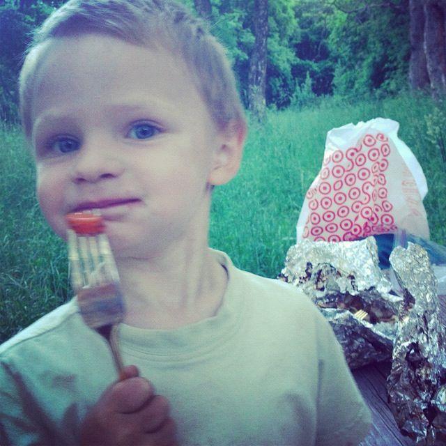 little boy eating tin foil dinner instagram