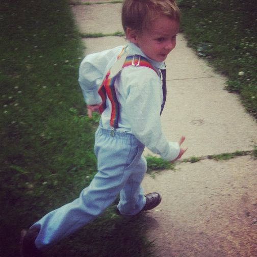 little boy running suspenders instagram