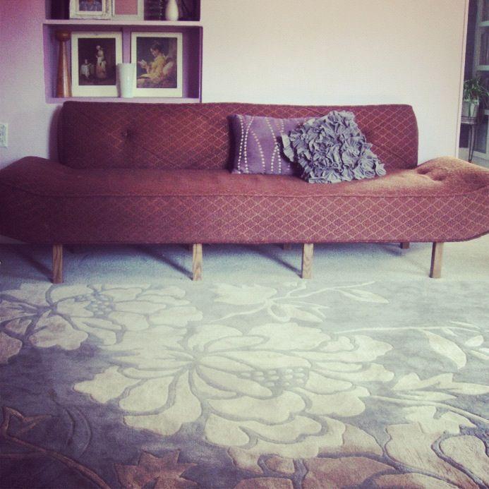 purple living room brown vintage couch grey floral rug instagram
