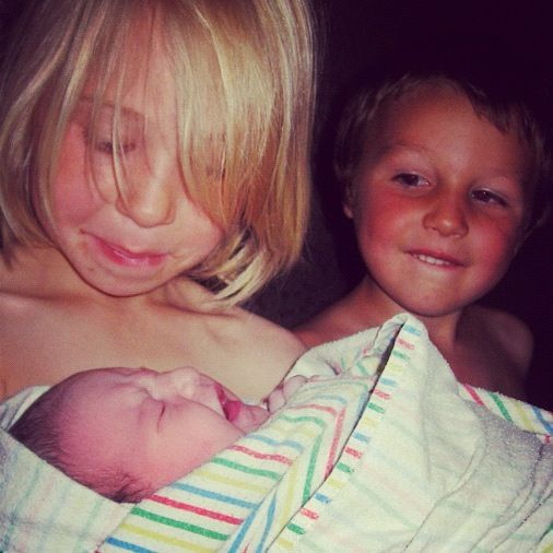 brother and sister newborn baby girl instagram home birth