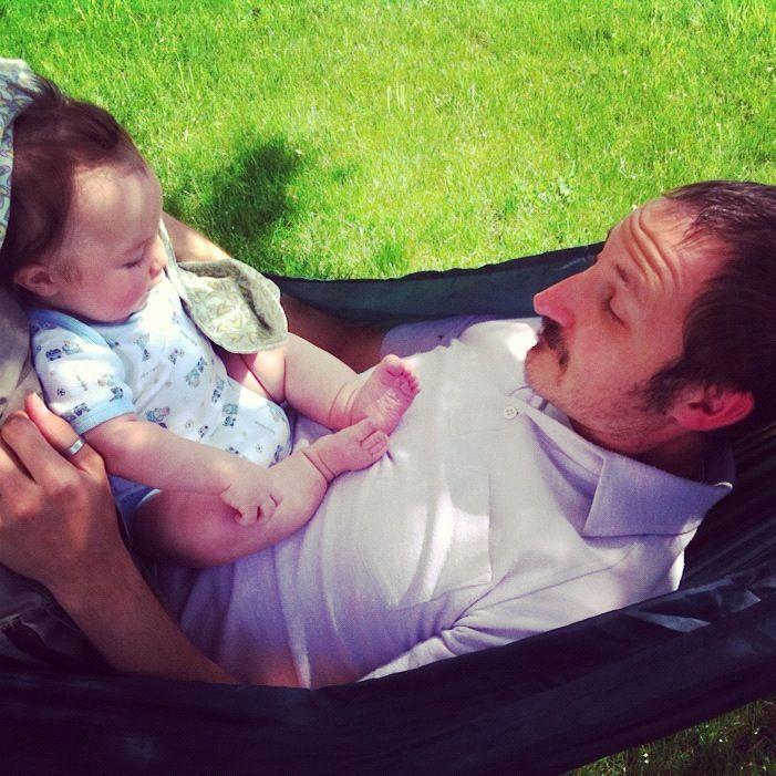 dad baby boy in hammock instagram