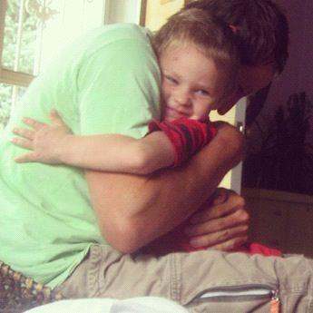dad and little boy hug instagram