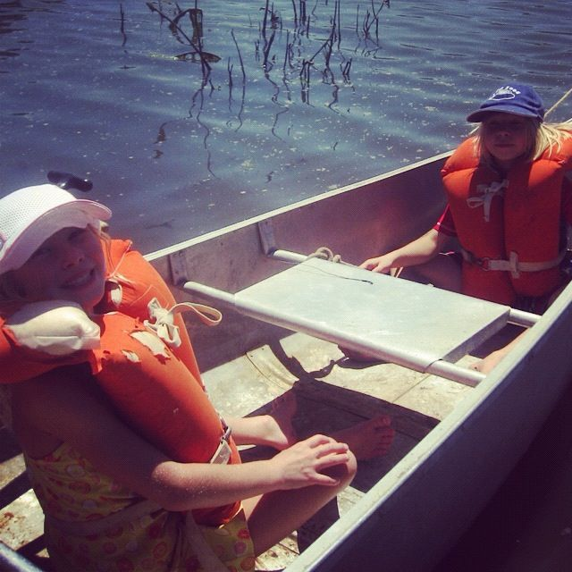 two little girls canoe life jackets instagram