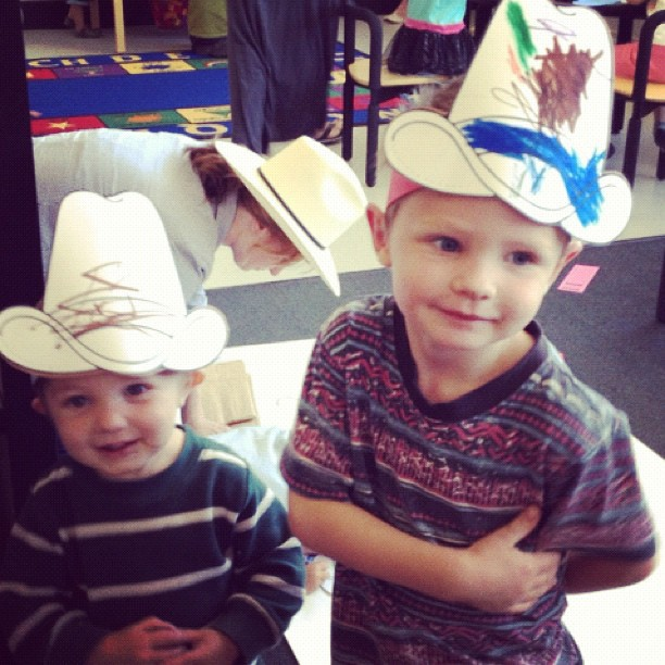 little boys art class cowboy hats instagram