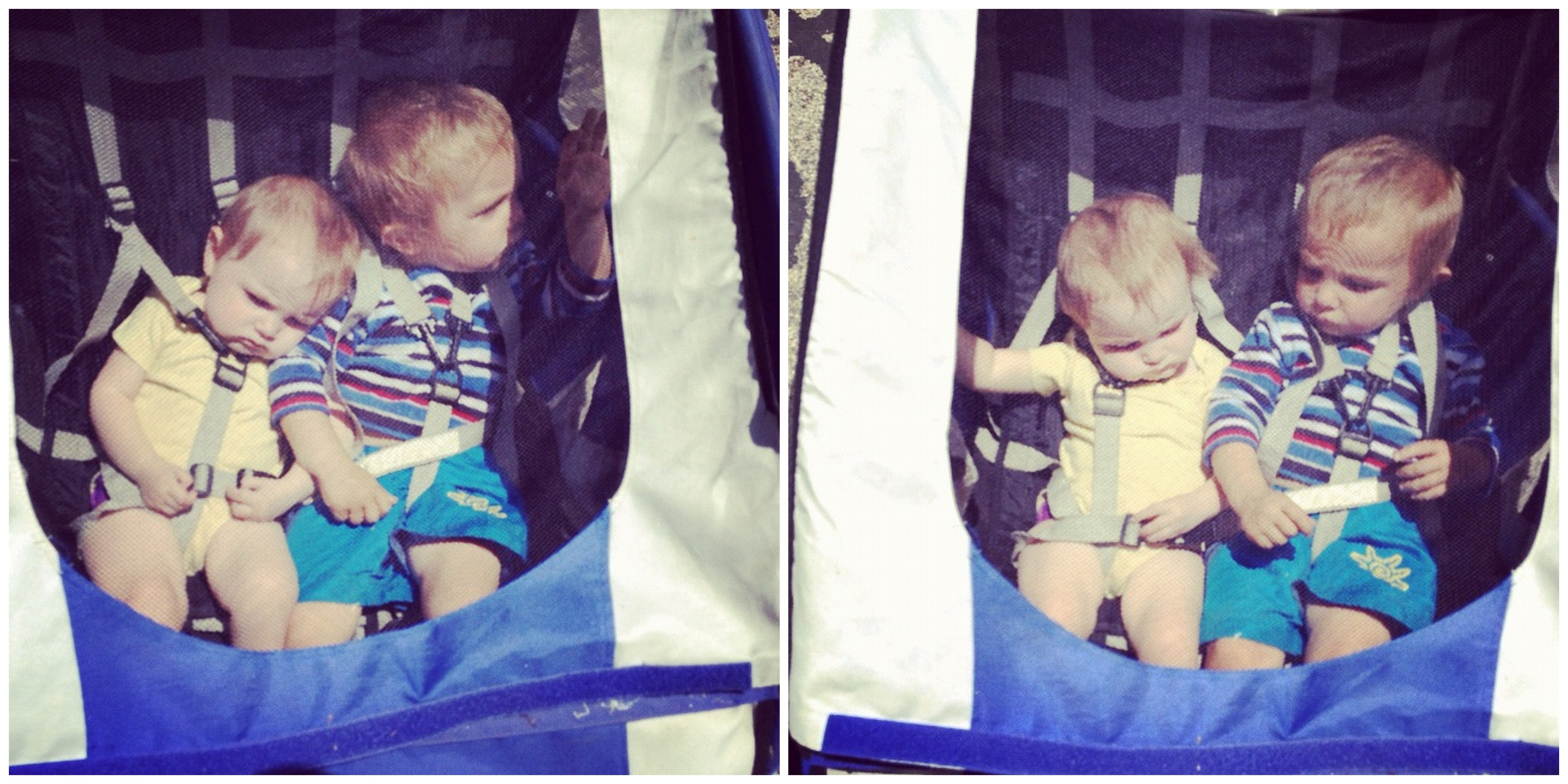 baby girl and little boy in bike trailer instagram