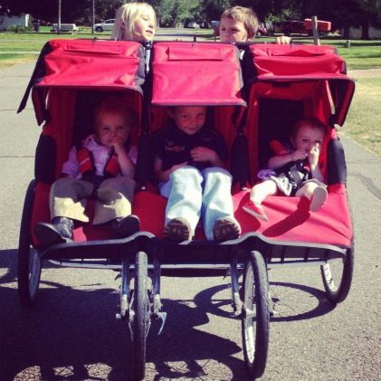 five kids triple stroller instagram