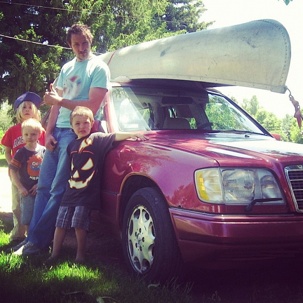 family canoe on car instagram