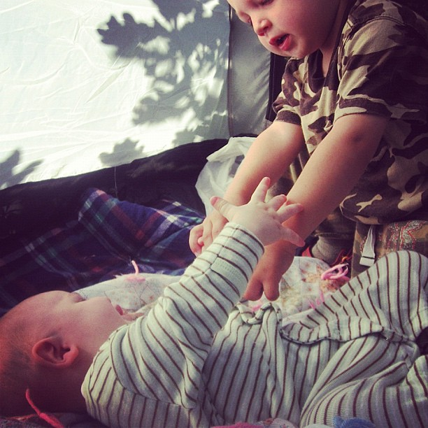 baby boy and little boy in tent instagram