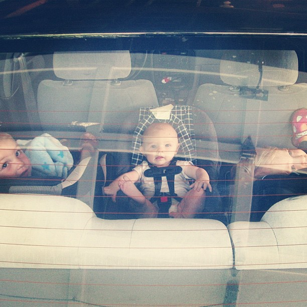 three kids in car instagram