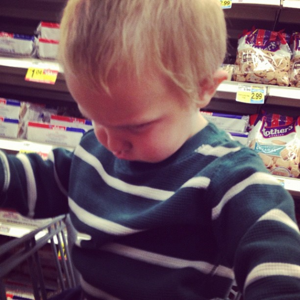 little toddler boy disappointed grocery cart instagram