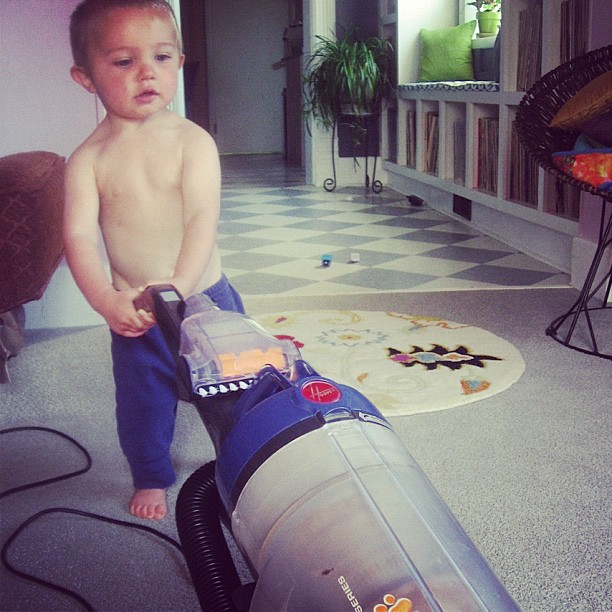toddler little boy vacuuming instagram