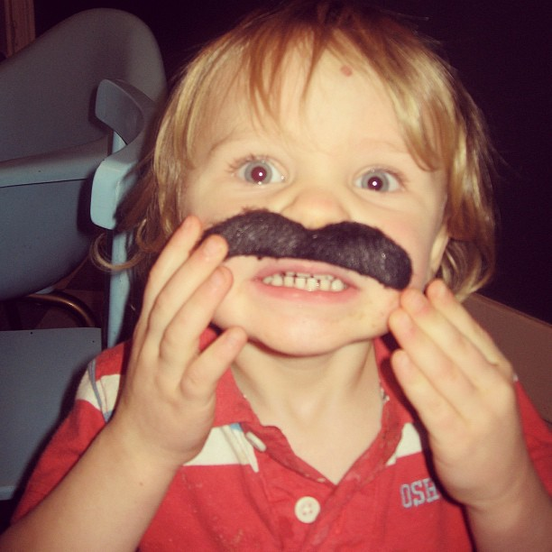 little boy wearing mustache instagram