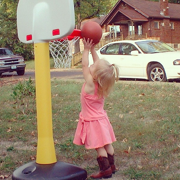 toddler girl shooting basket instagram