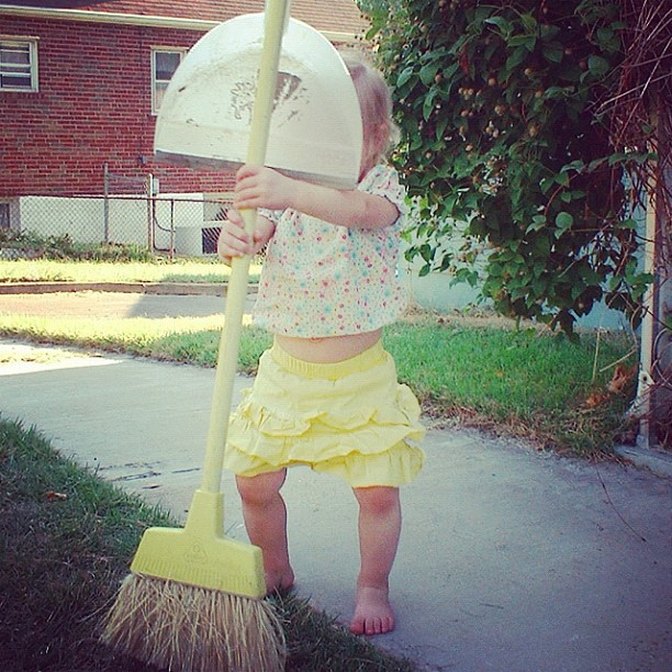 toddler girl sweeps sidewalk instagram