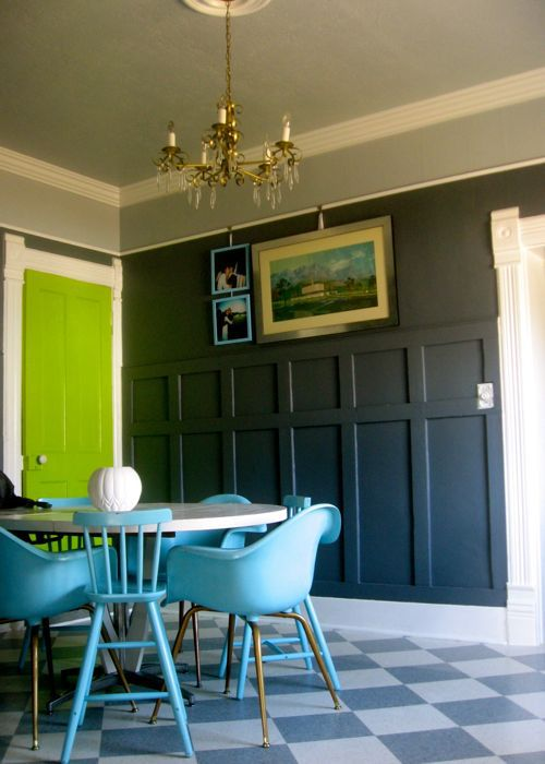 bright chartreuse green door grey dining room