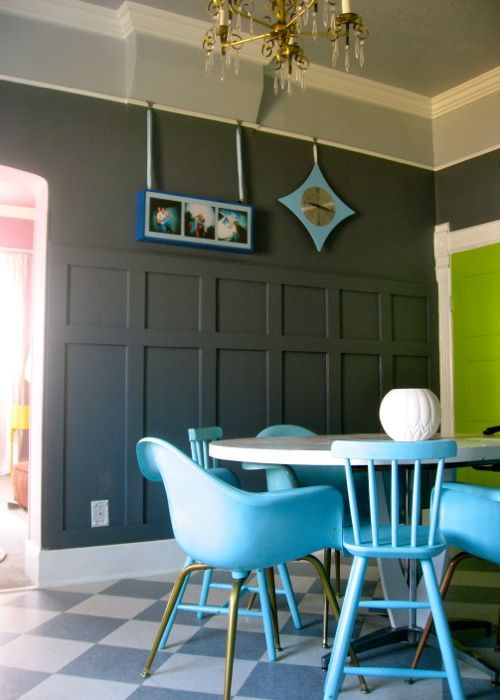 faux grey wainscoting dining room