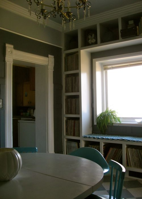built-in bookshelf record collection