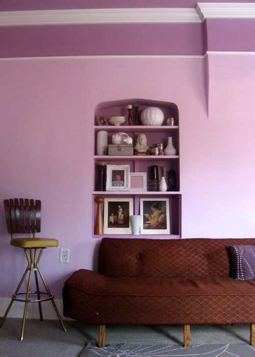 built in bookcase purple living room