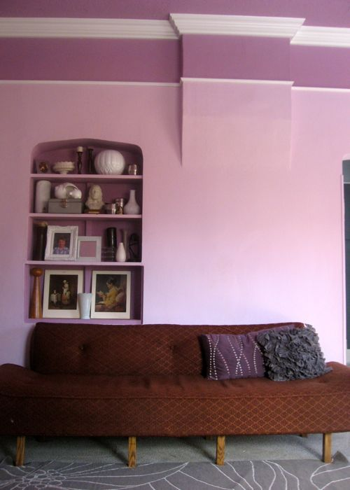 crown molding purple living room