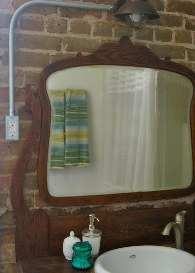 antique dresser vanity with mirror exposed brick turquoise