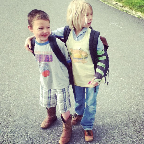 little boy and girl on last day of school