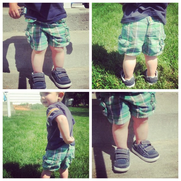 toddler with pants on backwards and shoes on the wrong feet